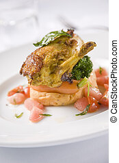 Chicken breast coated in a Malaysian style sweet tomato, onion, garlic and chillies served with sweet potato mash and cauliflower florets