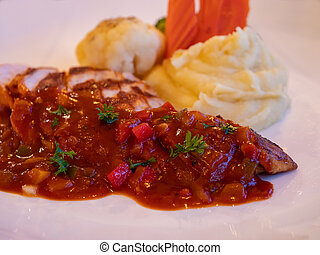 Chicken breast with barbecue sauce