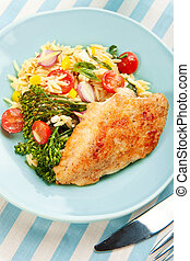 Chicken Breast with pasta salad and broccolini