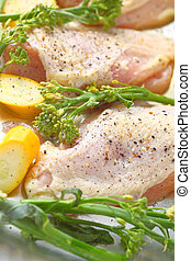 Chicken breasts with squash