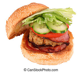 Chicken burger - A grilled chicked pattie, bacon and fresh...