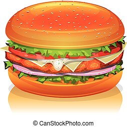 Illustration of an appetizing cartoon fast food chicken burger icon, with tomatoes, red onion, salad leaves, cheese, sauce, white meat paned fried steak and bread buns