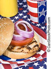 Chicken burger on Fourth of July - A freshly barbecued...