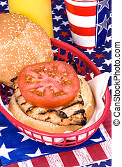 Chicken burger on Fourth of July
