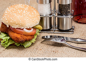 Chicken Burger with ingredients