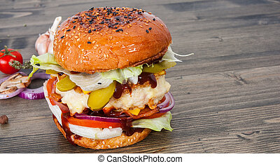 chicken burger with tomato