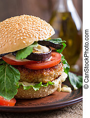 Chicken burgers with eggplant. - Juicy spicy chicken burgers...