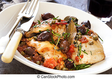 Chicken cacciatore, with olives, capers, tomatoes, garlic and herbs. Delicious!