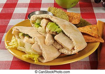 Chicken Caesar pita sandwich