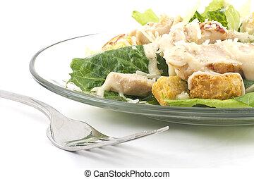 Chicken Caesar Salad Isolated on White - Chicken Caesar...
