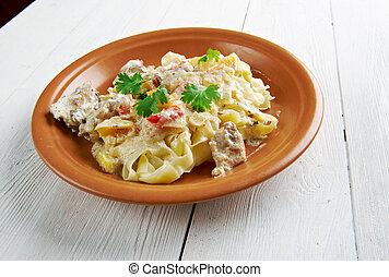 Chicken carbonara. fettucine pasta and creamy Pecorino ...
