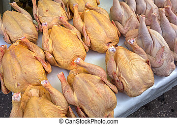 Chicken carcasses on the counter