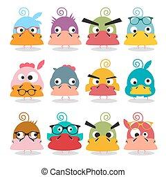 Chicken Cartoon. Funky Birds Characters. Vector Funny Animals.