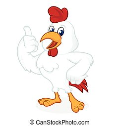 Chicken cartoon giving thumb up and smiling