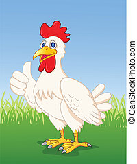 Chicken cartoon with thumb up