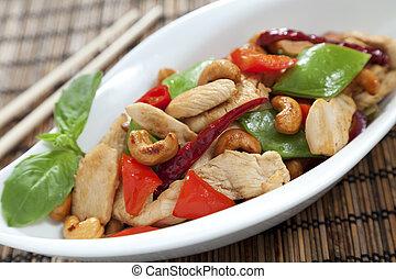 Chicken cashew nuts close up - Chicken with cashew nuts, ...