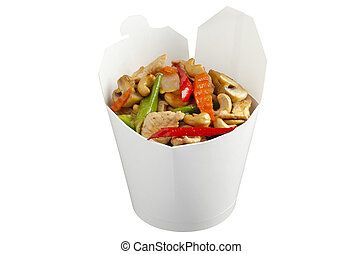 Famous thai dish chicken with cashew nuts in take away package