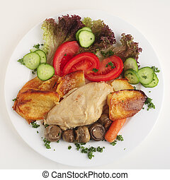 Chicken casserole meal - A meal of a chicken and mushroom ...