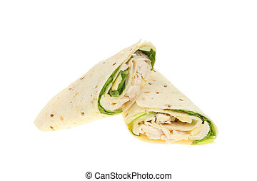 Chicken Ceasar salad bread wraps isolated on white