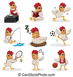 Chicken characters doing different activities - A vector...