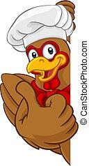 Chicken Chef Cartoon Rooster Cockerel Mascot Sign - A chef...