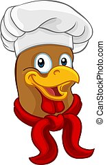 Chicken Chef Rooster Cockerel Cartoon Character - A chef...