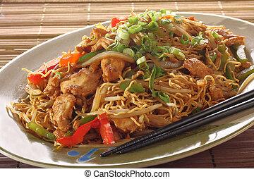 Chicken chow mein meal.
