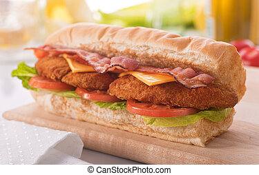 Chicken Clubhouse Sub - A delicious crispy chicken clubhouse...