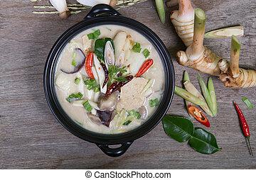 Chicken Coconut Soup (Tum Kha Kai Thai Food) :(Vegetarian ...