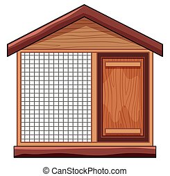Chicken coop with net illustration