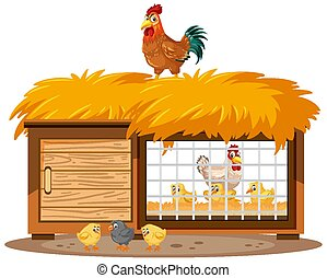 Chicken coops and chickens on white background