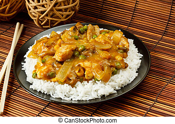 Chicken Curry with boiled rice a popular chinese food...