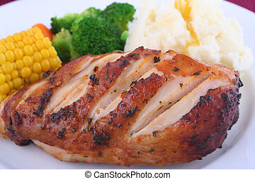 Chicken Dinner - Fresh hot chicken dinner with vegetables