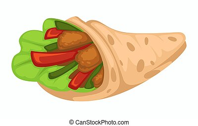 Wrap chicken doner with vegetables and salad leaf or lettuce vector pita bread and paprika slices cucumber and poultry meat fast food meal or dish kebab or roll ingredients isolated street snack.