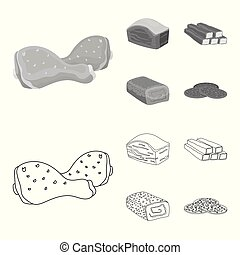 Chicken drumstick, podcherevina, crab sticks, meatloaf. Meat set collection icons in outline, monochrome style vector symbol stock illustration web.
