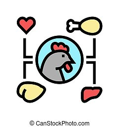 chicken eatery part color icon vector illustration