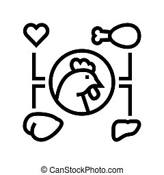 chicken eatery part line icon vector illustration