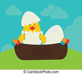 chicken egg - chicken design over landscape background,...