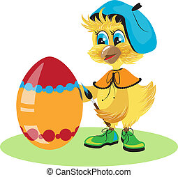 chicken egg dye for Easter in vector format
