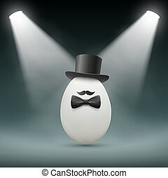 Chicken egg. Stock illustration. - Chicken egg with a hat....
