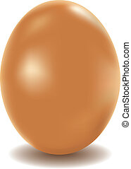 Chicken egg - Large chicken egg of brown color on a white...