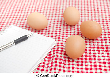 Chicken egges on the table