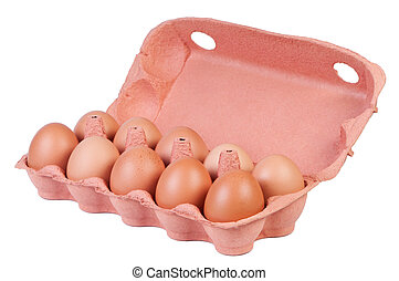 Chicken eggs in carton box.