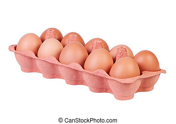 Chicken eggs in carton box isolated on white background.