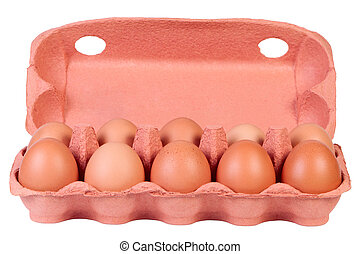 Chicken eggs in carton box isolated on white.