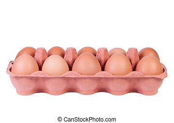 Chicken eggs in carton tray isolated on white background.