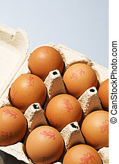 Chicken Eggs in egg box