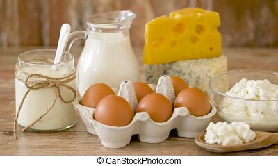 chicken eggs, milk, sour cream and cottage cheese - food,...
