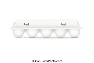 Container chicken eggs white plastic packaging 3d mockup. Special package for retailing in shops template, realistic vector illustration white background