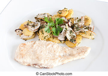 chicken escalope with mushrooms and potatoes